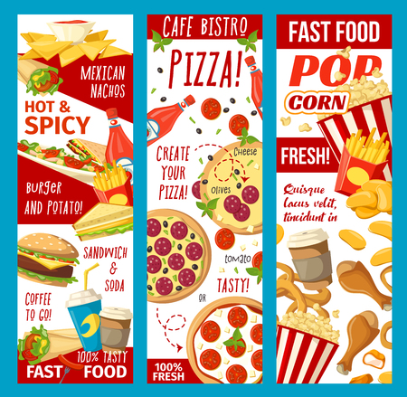 Fast food banners for bistro cafe or fastfood restaurant menu. Vector meals combo of popcorn, hot dog sandwich or hamburger and cheeseburger, pizza or Mexican burrito and chicken nuggets Illustration