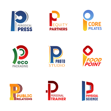 Letter P icons for company corporate identity in press media, business or sport and food industry. Vector letter P symbols for fastfood cafe, company partner or ecology environment and gym trainer