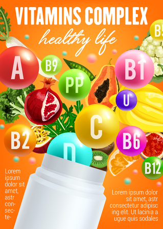 Vitamins in fruits and vegetables poster for healthy nutrition. Vector multivitamin complex design of exotic fruits and capsules with broccoli, arugula or tropical pineapple or orange with papaya