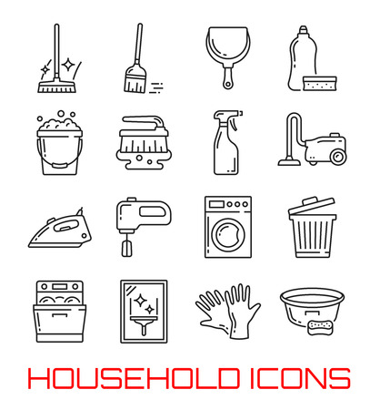 Household and home cleaning thin line icons. Vector symbols set of washing machine, vacuum cleaner or dishwasher and stove with detergent soap, water bucket or iron and glass polisher or garbage bin 向量圖像
