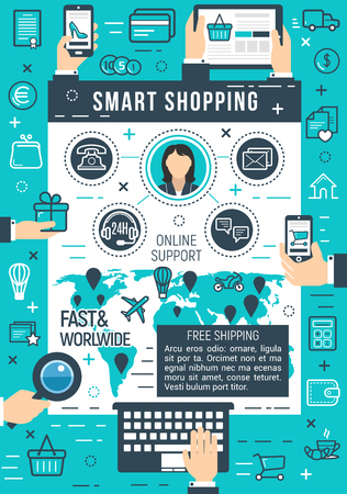 Online smart shopping or internet store service on global fast delivery. Vector poster of costumer buy and pay technology for credit card transaction in computer or smartphone online shop application