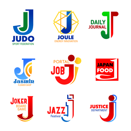 Letter J icons for company design or corporate identity in sport, music or media press and management industry. Vector letter J symbols for energy innovation technology, flowers shop or justice