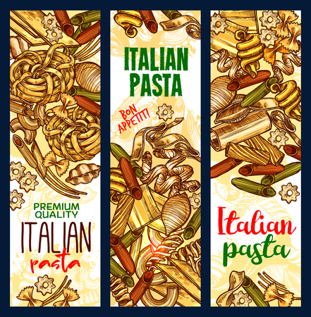 Italian pasta sketch banners. Vector design of ravioli, gnocchi or ditalini and rotelle, tortellini or oregghiette and risoni, fettuccine and linguini or papardelle for traditional Italy cuisine