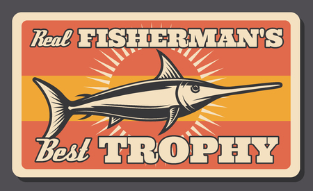 Fishing retro poster of marlin fish. Vector vintage design of fisherman big fish catch trophy for fisher tackles shop or sport adventure 向量圖像