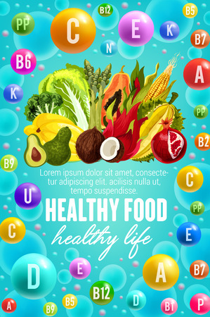 Vitamins in natural fruits, vegetables and nuts food. Vector poster for healthy nutrition of multivitamin complex pill and capsules in tropical pineapple, coconut or papaya, broccoli and salads Ilustracja