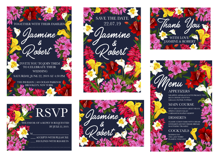 Save the Date or wedding and RSVP greeting and invitation cards templates. Vector design of blooming pink and red floral blossoms frame with bride and bridegroom names for engagement party Иллюстрация