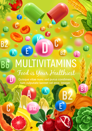 Multivitamins in natural fruits, cereals and vegetables for healthy food. Vector poster for vitamin nutrition pills and capsules in tropical pineapple, coconut or papaya, broccoli and chicory salad Ilustracja