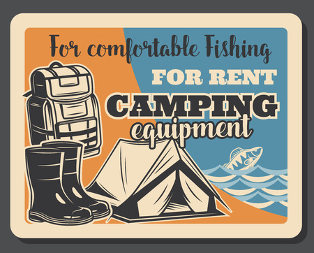Fishing camping retro poster or fisherman equipment and tackles. Vector vintage design of tent, rubber boots or waders and fisher haversack or backpack with baits and bobbers or rod for fish catch