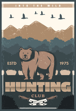 Hunting club retro poster of bear and nature for hunter society or open season. Vector vintage design of wild bear and duck birds in mountains with hunter knife for hunt adventure Illusztráció