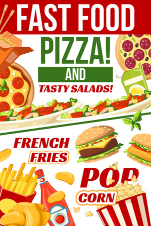 Fast food menu poster for fastfood cafe, restaurant or bistro. Vector Italian pizza and Mexican burrito or Chinese noodles, cheeseburger or hot dog sandwich and chicken nuggets with fries or popcorn Illustration