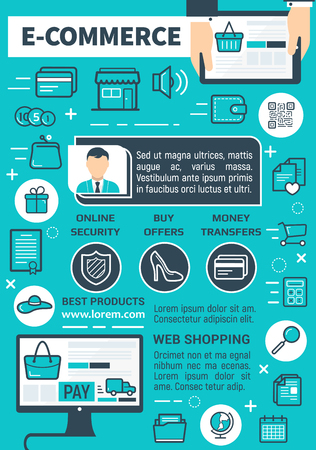 E-commerce and online shopping technology poster. Vector internet store or web shop design of user computer and application for consumer buy and pay or security payment transaction and money transfer