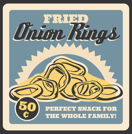 Fried onion rings retro poster for fast food restaurant or cinema bistro. Vector vintage design of finger food tasty snacks for fastfood delivery or takeaway cafe menu Standard-Bild - 111855251