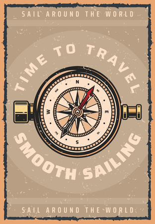 Travel and sailing retro poster of navigation compass or nautical wind rose. Vector vintage design for sea ship trip or boat journey and ocean world sail adventure