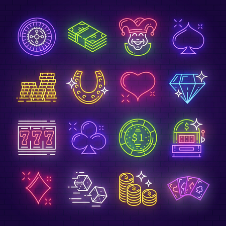 Casino neon signboards for poker or gambling game and slot machine. Vector neon light line signs of golden coins, horseshoe or wheel of fortune and dice with playing cards for online casino design