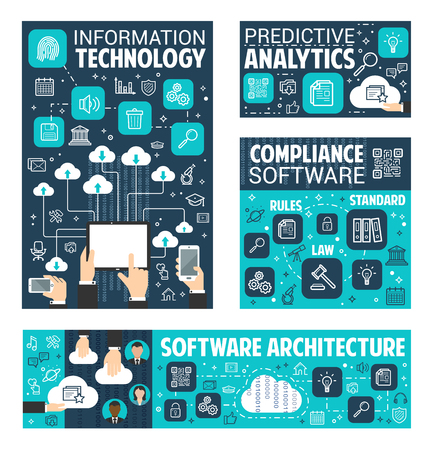 Information and data technology poster for internet search content predictive analytics. Vector software architecture for user online web cloud storage and files sharing network Illustration
