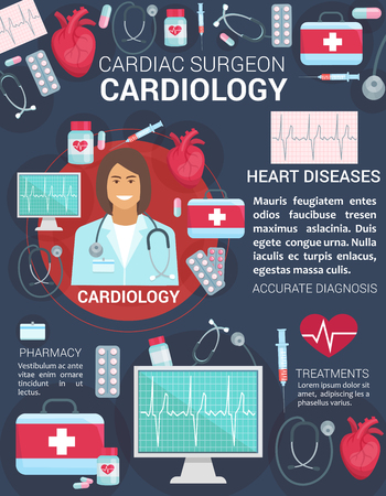 Cardiology medicine items for cardiologist or surgeon clinic poster. Vector doctor with heart pulse on cardiogram, cardio treatment pills or first aid kit and syringe with stethoscope Illustration