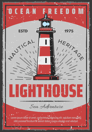 Lighthouse retro poster for safe sailing or seafarer and nautical adventure. Vector vintage design of marine light beacon for sailor ship navigation in ocean or sea Illustration