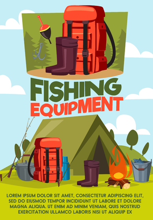 Fishing equipment poster of fisherman camping and tackles items. Vector cartoon design of tent, rubber wader boots or bowler with thermos and fish rod or haversack with baits and floats Standard-Bild - 106765235