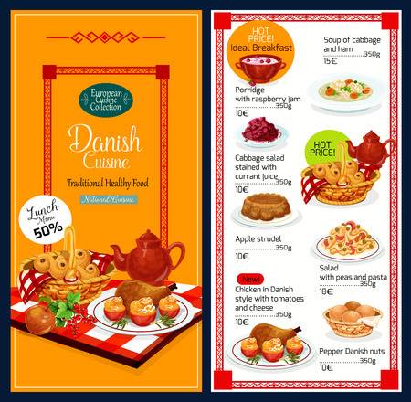 Danish cuisine traditional food menu. Vector lunch offer discount for breakfast porridge with raspberry jam, ham and cabbage soup, salad of currant juice and apple strudel, chicken in tomato or cheese Ilustração