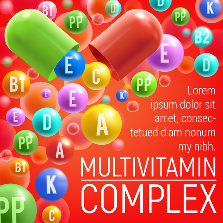 Multivitamin complex poster of vitamins and minerals for healthy life or medical dietary supplement advertisement. Vector design of vitamins A, C or D and E pills and 3D capsules Ilustração