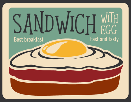 Sandwich retro poster for fast food restaurant or cinema bistro and cafe breakfast menu. Vector vintage design of sandwich with ham or bacon end egg for fastfood delivery or takeaway