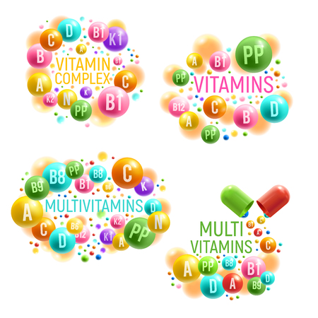 Vitamin and multivitamin complex posters for healthy life and dietary supplements package design. Vector vitamin capsules and mineral pills for pharmacy advertisement