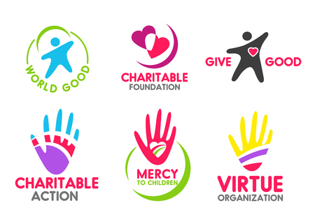 Charity icons of people red heart and helping hand for mercy and donation organization. Vector symbols for volunteering action company or blood donor and money fund