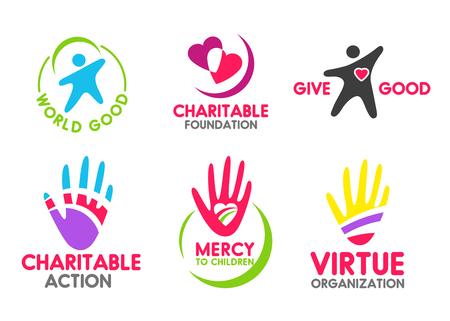 Iconos de caridad de personas corazón rojo y mano amiga para la organización de misericordia y donación. Símbolos vectoriales para empresa de acción voluntaria o donante de sangre y fondo de dinero