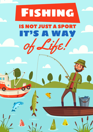 Fishing sport or fisherman hobby cartoon poster. Vector design of happy fisher man in boat on lake or river with rod and big pike fish catch on hook in outdoor nature landscape