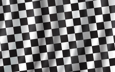 Checkered flag 3D background. Vector wavy start or finish flag with checker pattern of car racing, rally sport club or bike races competition backdrop design Ilustracja