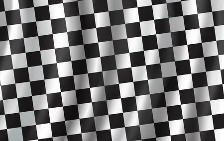 Zielflagge 3D-Hintergrund. Vektorwellenförmige Start- oder Zielflagge mit Schachbrettmuster von Autorennen, Rallye-Sportclub oder Radrennen-Wettbewerbshintergrunddesign