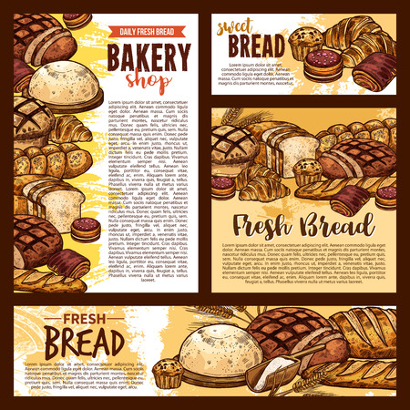 Bakery shop sketch posters and bread banners. Vector design of wheat or rye bread and sweet pastry or patisserie croissant, bagel and chocolate pie or loaf and baguette or pretzel toast