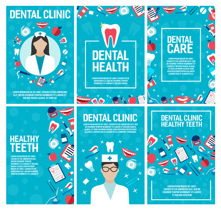 Dental clinic brochure for dentistry surgery and health. Vector design of dentist doctor and teeth treatments and pills, implants and orthodontic medical braces, smile with toothpaste and toothbrush Vectores