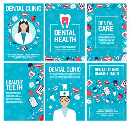 Brochure per clinica odontoiatrica per chirurgia odontoiatrica e salute. Disegno vettoriale di dentista medico e trattamenti per i denti e pillole, impianti e apparecchi ortodontici, sorriso con dentifricio e spazzolino da denti