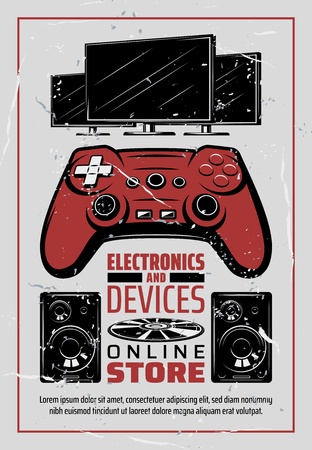 Electronic devices online store poster in retro vintage design. Vector multimedia audio sound systems, video and music players or TV television, computer game console and joystick and smart appliances Çizim