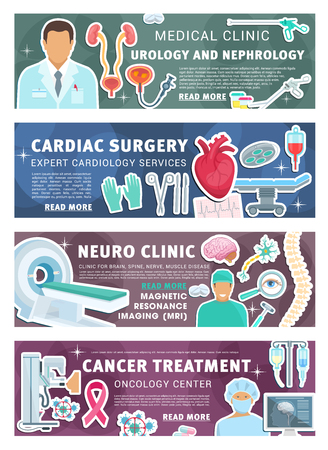 Cardiology, neurology or urology and cancer healthcare medicine banner. Vector cardiologist, urologist or neurologist doctor medical items and oncology treatment pills, joint bones and body organs Vector Illustration