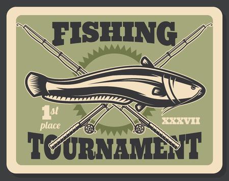 Affiche de tournoi de pêche pour passe-temps ou sport de pêcheur professionnel. Conception vintage rétro vectorielle de canne à pêche croisée, de tacles et d'appâts pour les grosses prises de silure ou de poisson-chat Vecteurs