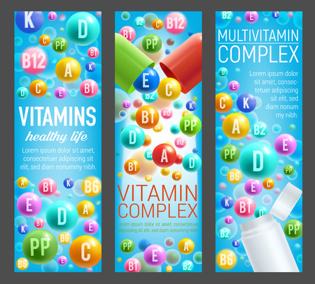 Vitamins or multivitamin complex banners for healthy food and nutrition. Vector capsules and minerals pills of vitamin B, C or D and E or ascorbic acid for dietary supplement or package design Foto de archivo - 106765246
