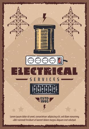 Cartel vintage de servicio eléctrico para la industria eléctrica y energética. Diseño retro de vector de carrete eléctrico y medidor de consumo de electricidad para postes de alta tensión