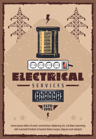 Electrical service vintage poster for electricity power and energy industry. Vector retro design of electric reel and electricity consumption gauge for high voltage posts