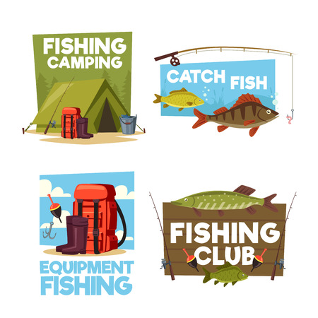 Fishing camping or fisher club posters or icons of fisher equipment. Vector rod, ten and haversack with thermos, bobber or float and big fish catch in lake or river Illustration