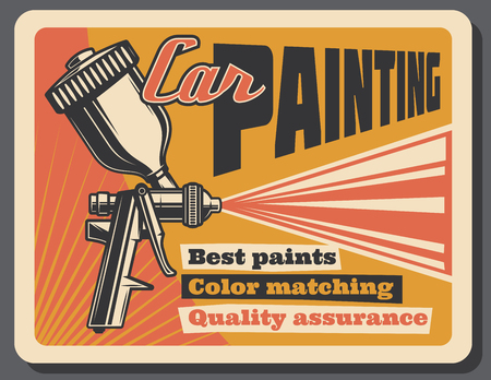 Car painting service retro poster for garage station or mechanics repair. Vector vintage design of paint jet sprayer or pulverizer for automobile color quality renovation Ilustração