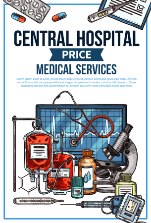 Central hospital price list for medical services. Vector sketch medicines or diagnostic equipment and treatments, blood transfusion dropper, doctor stethoscope and microscope or ointments and syringe