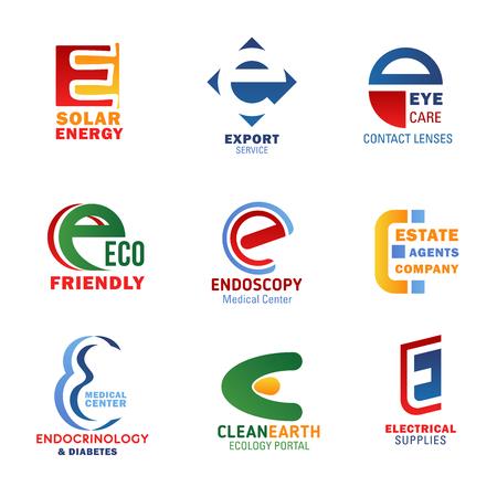 Iconos de la letra E para la identidad corporativa de la empresa en la industria de la tecnología, la medicina y la ecología. Símbolos vectoriales de la letra E para energía solar, servicio de exportación o centro médico y suministros eléctricos