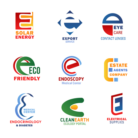 Letter E icons for company corporate identity in technology, medicine and ecology industry. Vector letter E symbols for solar energy, export service or medical center and electrical supplies