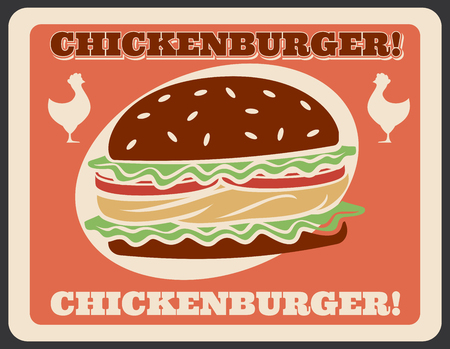 Burger retro poster for fast food restaurant or bistro cafe. Vector vintage design of chickenburger of chicken barbecue sandwich with cheese for fastfood delivery or takeaway