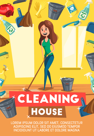 House cleaning poster or woman mopping floor. Vector cartoon design of household appliances and home clean items, duster brush, vacuum cleaner or detergent soap and glass polisher