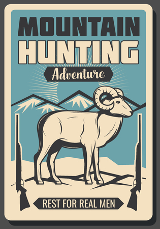 Mountain sheep hunting retro poster for real hunter adventure or hunt open season club. Vector vintage design of wild animal in snow Alps and hunter rifle guns or carbines