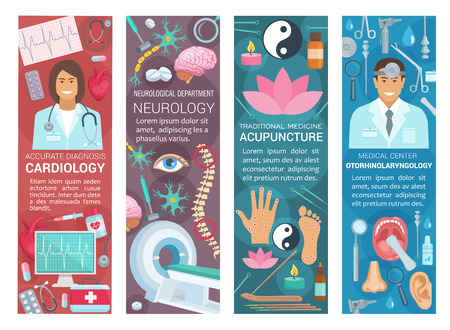 Cardiology, neurology or acupuncture and otorhinolaryngology medicine banners. Vector cardiologist, neurologist or otolaryngology doctors and medical pills or items for traditional health treatments