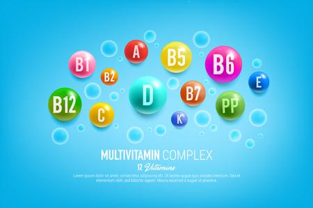 Plakat z kompleksem witamin dla zdrowej żywności i żywienia. Vector 12 kapsułek multiwitaminowych i tabletek mineralnych suplementu diety do reklamy apteki lub projektowania opakowań witamin